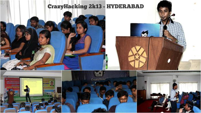 Vaibhav giving a workshop on Ethical Hacking at Hyderabad