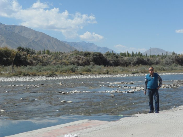 Dad at the banks of Indus river